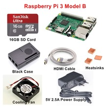 Raspberry Pi 3 Model B Starter Kit with 5V 2.5A EU/UK/US/AU Power Supply + 16GB SD Card + Copper Heatsinks + HDMI Cable