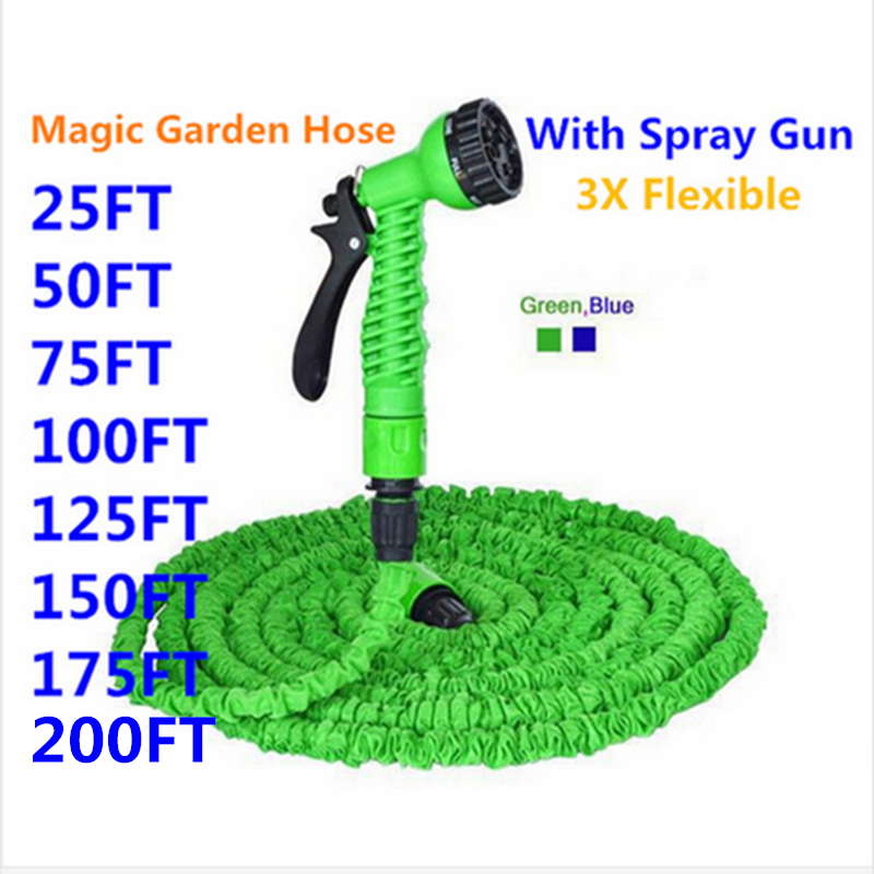HOT SALE Expandable Magic Flexible Garden Hose To Watering With Spray Gun Garden Car Water Pipe Hoses Watering 25-200FT(China)