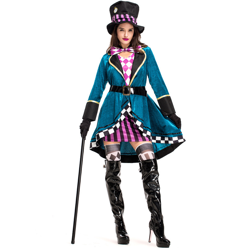 Adult <font><b>Alice</b></font> <font><b>In</b></font> <font><b>Wonderland</b></font> Mad Hatter <font><b>Costume</b></font> for Women Halloween Witch Dress <font><b>Sexy</b></font> Magician <font><b>Costume</b></font> Magic Show Wear image