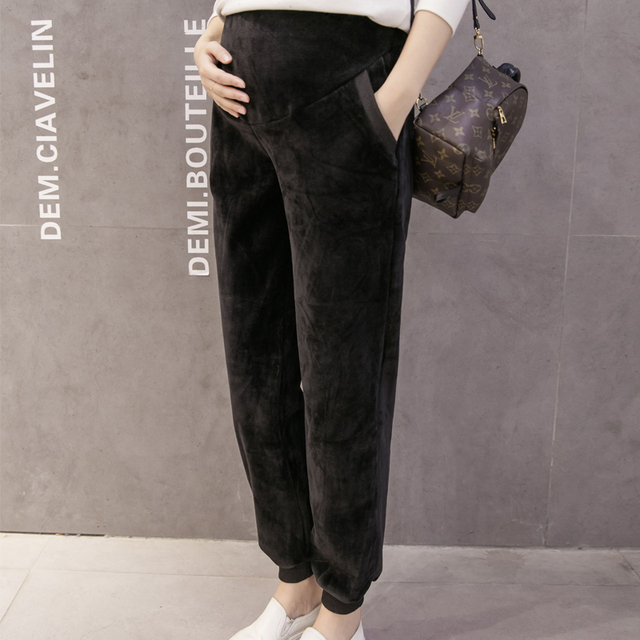 maternity pants clothes for pregnant women pants High Waist loose velvet Keep warm winter