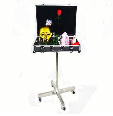 Boutique malle noir magique Table (rouleau cadre en acier inoxydable, avec 4 roues), étui de transport, tour de magie, magie amusante, accessoires