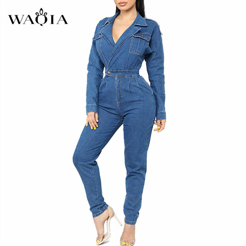 WAQIA 2019 Women Spring Clothing Overalls High Waist Slim Jeans Jumpers Lapel Pocket Denim Jumpsuit Night Club Rompers Plus Size