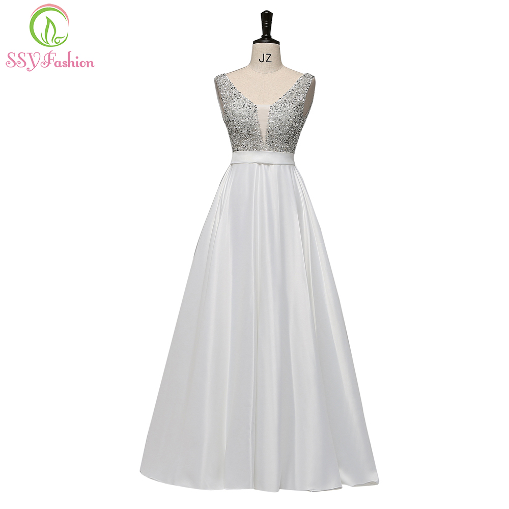 SSYFashion New Simple Evening Dress The Banquet Elegant V neck White Satin Sequins Beading Floor length