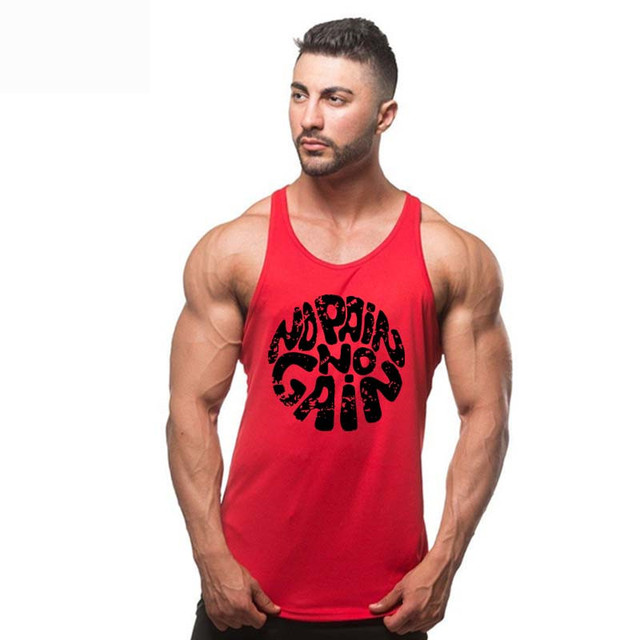 Summer fashion 100% cotton no pain no gain print men Tops casual o-neck men muscle body building Tank Tops mens Vest