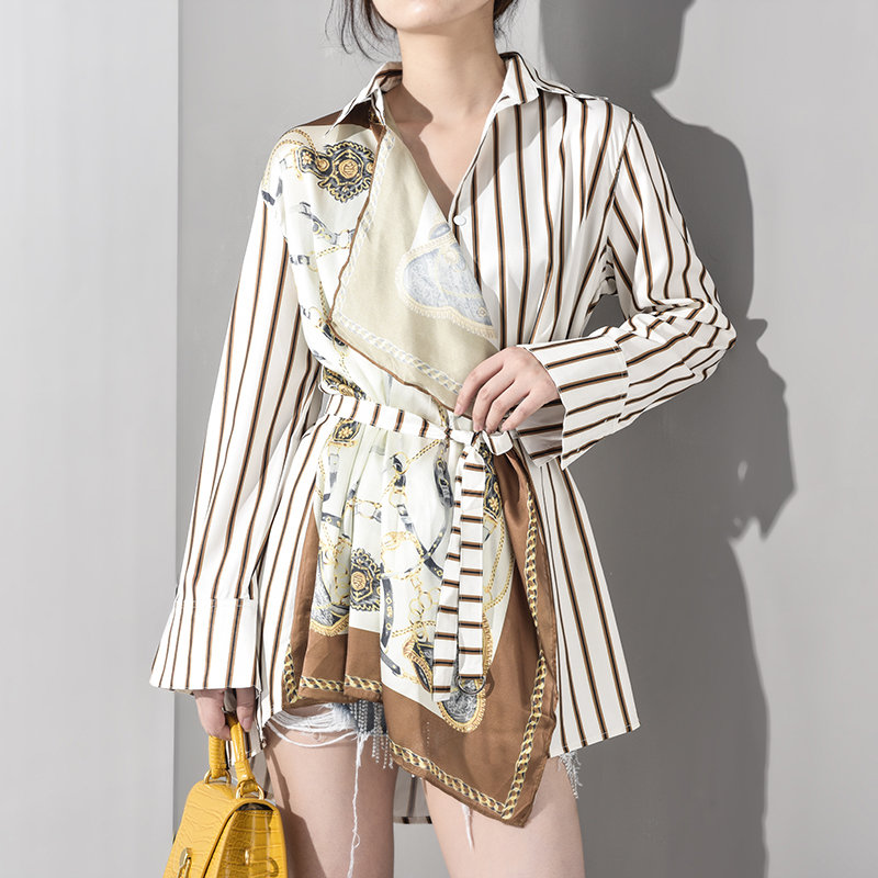 [EAM] 2020 New Spring Autumn Lapel Long Sleeve Striped Pattern Printed Irregular Big Size Shirt Women Blouse Fashion JQ4900