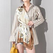 [Eem] 2020 yeni bahar sonbahar yaka uzun kollu çizgili desen baskılı düzensiz büyük boy gömlek kadın bluz moda JQ4900
