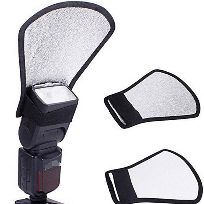 free shipping worldwide Camera Flash Diffuser Softbox Silver and White Reflector for Canon 580EX Nikon SB-600 Penta