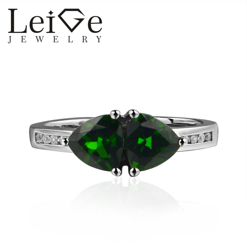 925 Silver Real Diopside Ring Trillion Cut Double Stone Green Gemstone Wedding Rings for Women Romantic Gifts925 Silver Real Diopside Ring Trillion Cut Double Stone Green Gemstone Wedding Rings for Women Romantic Gifts