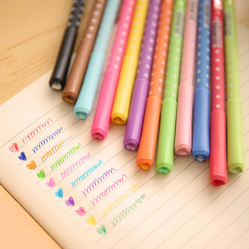 12 Color Rainbow Gel Pen Dot & Dots Cute Pen Stationery Caneta Papelaria Gift Office Material Escolar School Supplies