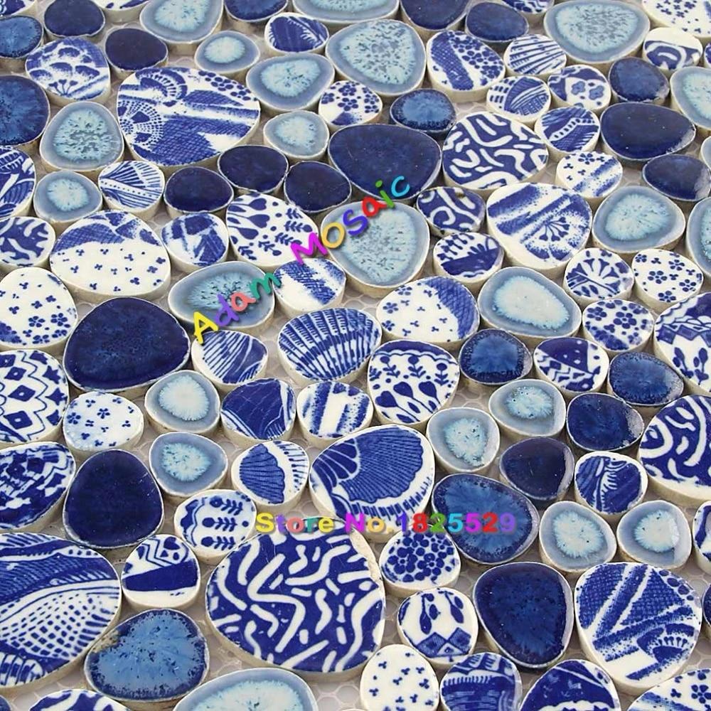 blue pebble tile sheets swimming pool deco ceramic kitchen tile bathroom wall and floor mosaic border art