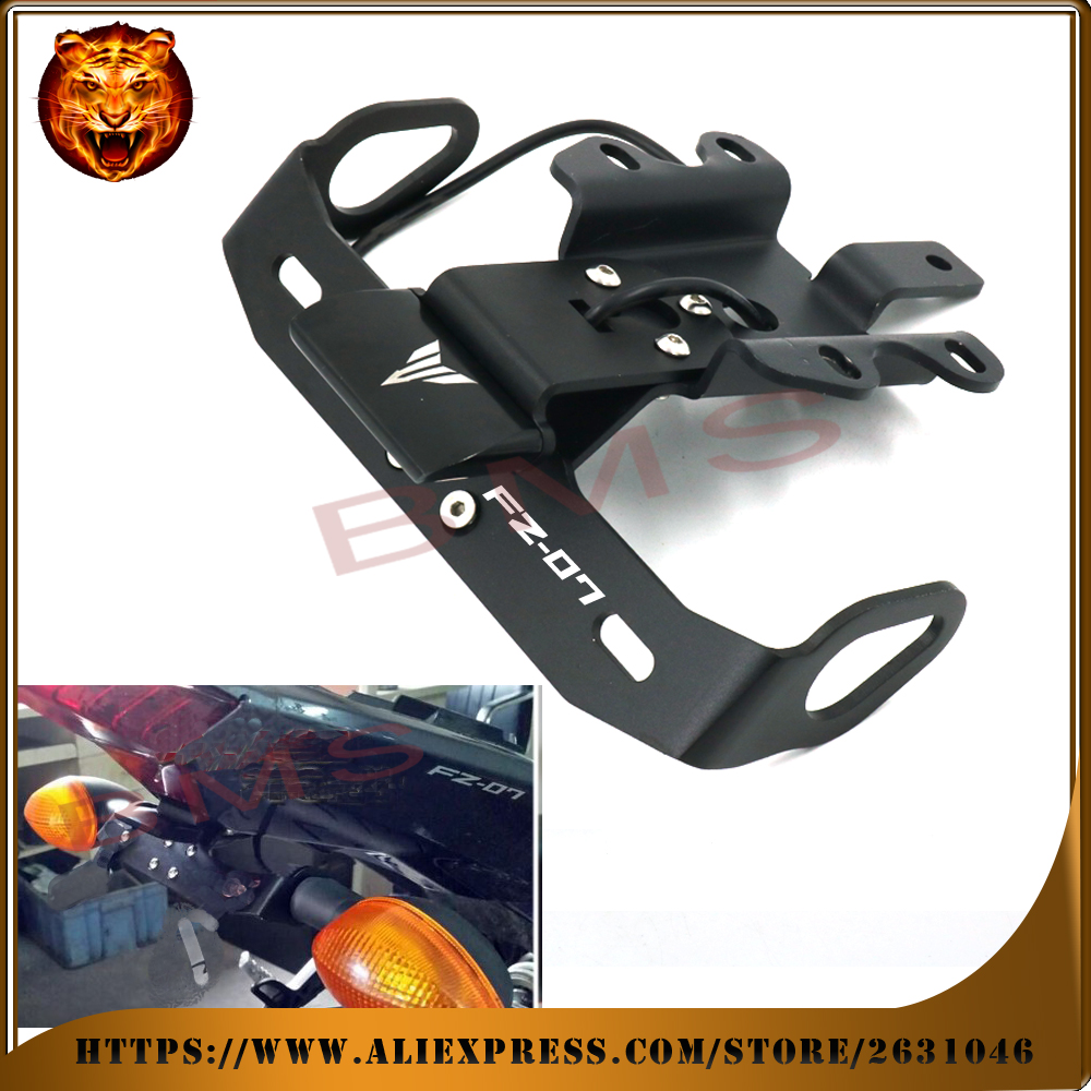 For YAMAHA FZ07 FZ-07 2014 2015 2016 Motorcycle Tail Tidy Fender Eliminator Registration License Plate Holder frame LED Light for kawasaki zx6r zx 6r ninja 2007 2008 motorcycle tail tidy fender eliminator registration license plate holder led light