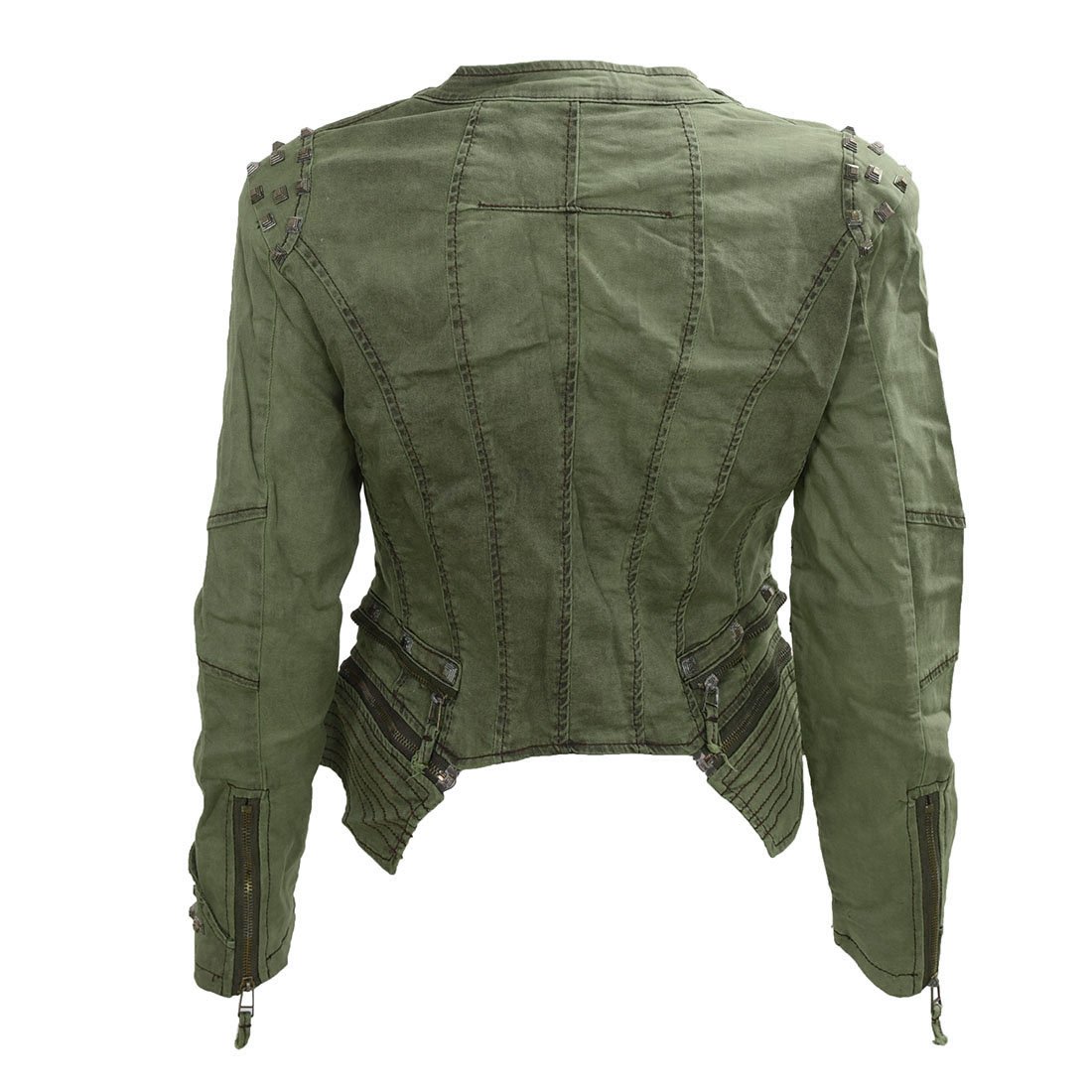 Women Denim Jacket Punk Style Rivet Studded Lapel Coat 3