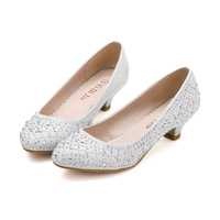 Korean Style Ivory Color Rhinestone Wedding Low Heels Shoes Women Bridal Pumps Shoes For Party Size