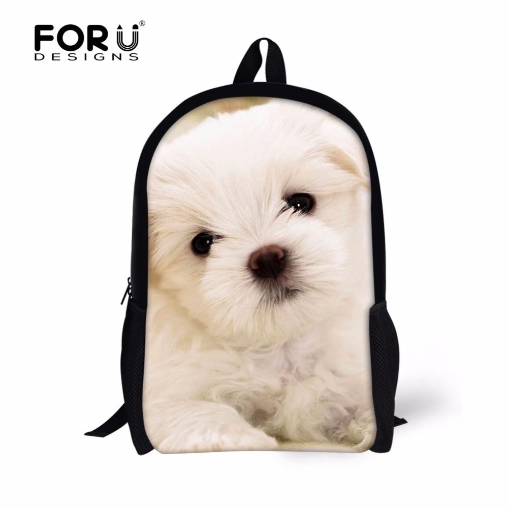 FORUDESIGNS Cute Dog Children School Bags,Mouse Animal Bookbag for Kids,Teenager Girls Boys Customized Book Bag Kawaii Schoolbag