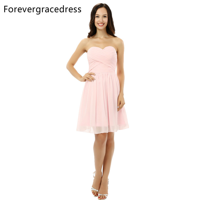 Forevergracedress Simple Pink Backless Bridesmaid Dress Short Chiffon Lace Up Back Wedding Party Dress Plus Size Custom Made