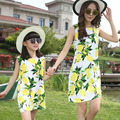 2017 Brand New Arrival Summer Family Matching Mother Daughter Print Lemon Dress Clothing Set Mom And Daughter Fashion Dress 2106