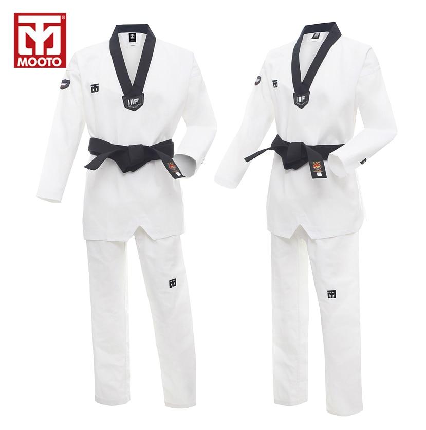 MOOTO белый дышащий тхэквондо форма высокого качества WTF утвержден тхэквондо добок ТКД Костюмы карате одежды для взрослых детей