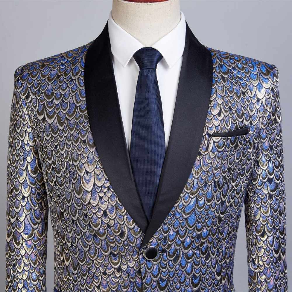 PYJTRL Male Shawl Lapel Gold Blue Jacquard Scale Pattern Slim Fit Blazer Hombre Suit Jacket Men Wedding Groom Singers Costume