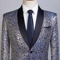 PYJTRL Hombre chal solapa oro azul Jacquard escala patrón Delgado Fit Blazer Hombre traje chaqueta hombres boda novio cantantes disfraz