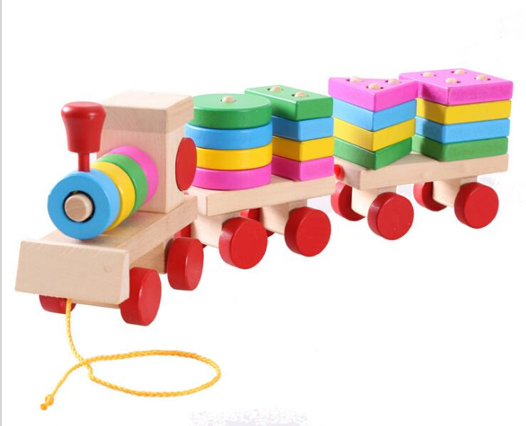 Colorful Geometric Figure Digital Wooden Train Toy Children's Early Education Building Blocks Montessori Baby Cognitive Toy Gift