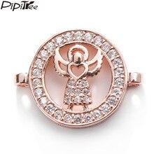 Pipitree pulseira delicada encantos claro cz zircon rosa ouro cor anjo encantos contas para fazer jóias diy conector descobertas