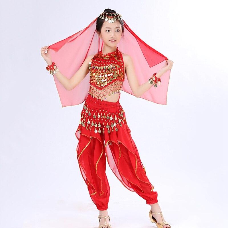 цена  Kids Belly Dance Set Indian Clothing Bollywood Dance Costumes Children's Sets Top+Pant+Headwear+Veil+Waist Chain+Bracelet  онлайн в 2017 году