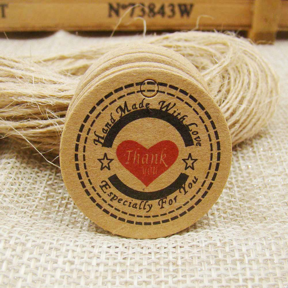 50PCS Kraft Price Tags 50PCS Hemp Strings Paper Thank You Tag Paper handmade tags with love