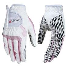 New Golf Gloves Women Non-slip Advanced Microfiber Cloth Left and Right Anti Skid Sport Breathable Girl Slip Resistant Gloves