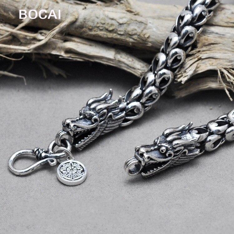 Collier en argent pour hommes palais en argent rétro original mode manuelle collier Dragon dominateur bijoux