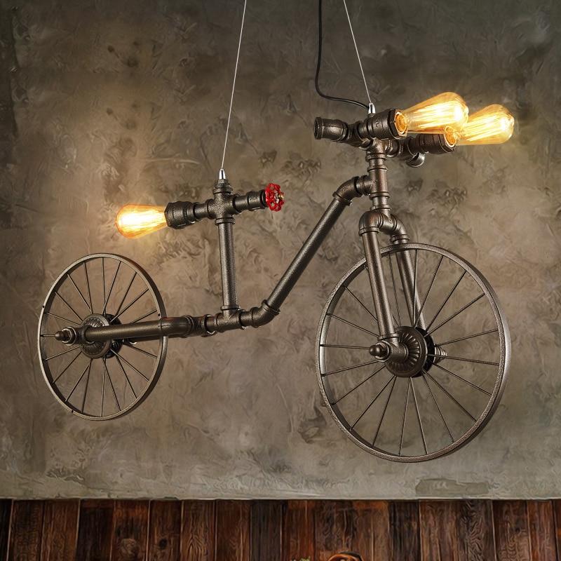 Vintage Hanging <font><b>Lights</b></font> Nordic Bicycle Pendant <font><b>Light</b></font> Fixture Retro Dining Room Restaurant Cafes Pub Bike Droplight Home Lighting