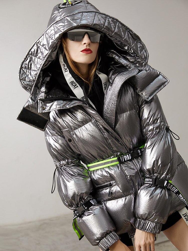 2018 di inverno delle donne del rivestimento giù giacche delle donne breve piume d'anatra bianca metallic street sentire, oversize con cappuccio della tuta sportiva parka di marca