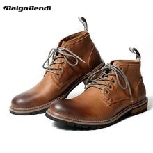 Высокое качество мужские Пояса из натуральной кожи Кружево до Повседневное ковбойские ботинки Martin супер теплая зима Оксфорд Представительская обувь