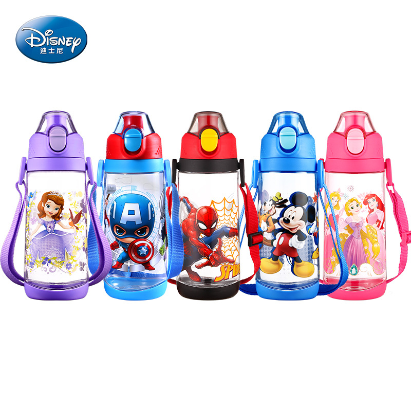 Disney 570 Ml Mickey Princess Spider-Man Safety With Rope Cartoon Straight Drink Cup Child Baby Sports Bottle Feeding Cup