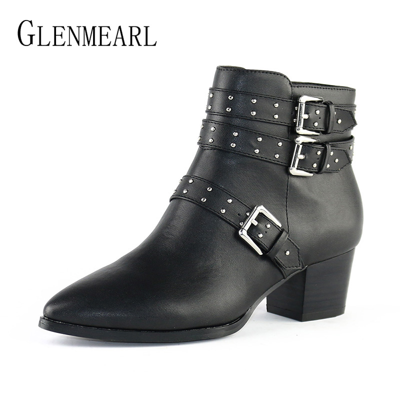 Winter Women Boots High Heels Shoes Woman Fashion Brand Ankle Boots Warm Black Buckle Pointed Toe Thick Heel Shoes Female SizeCE winter female woman round high engraving heel mid high rhinestone crystal buckle black real leather boots pointed toe shoe 1118