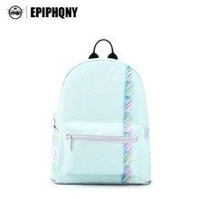 Epiphqny бренд сладкие конфеты печати Рюкзаки свежий небольшой рюкзак синий Зефир сумка для Для женщин Симпатичные Элегантный узор «Mori Girl»