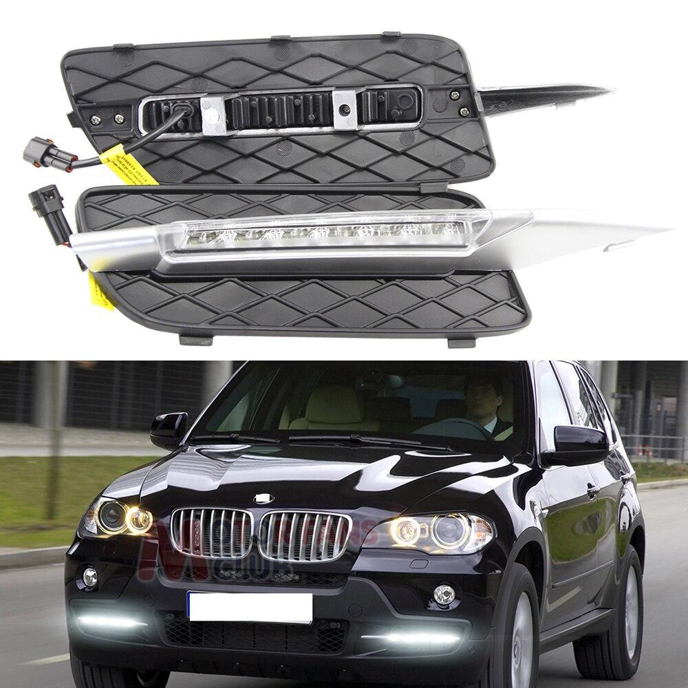 6000 K Xenon Blanc 18 W Haute Puissance Feux de jour Led DRL lampes Pour 2007-2010 Pré-LCI BMW E70 X5 avec Blink Signal lumières