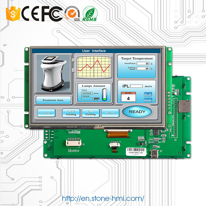 """7"""" 800x480 LCD display module with CPU & touchscreen & RS232/ USB/ TTL port"""