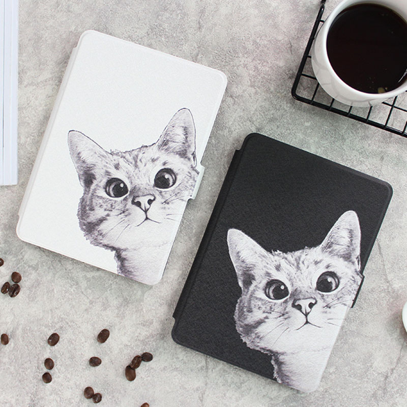 Case for New kindle 2016 8th Sketch Cat Series Smart Auto Sleep/Wake PU Leather Cover for Amazon Kindle 8th 2016 Kindle 558