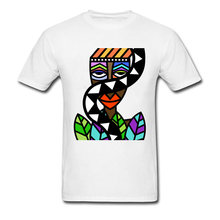 Art Design Men T-shirt African Beauty Abstract Painting Short Sleeve White T Shirt Male Unique Street Wear Exotic Tshirt(China)