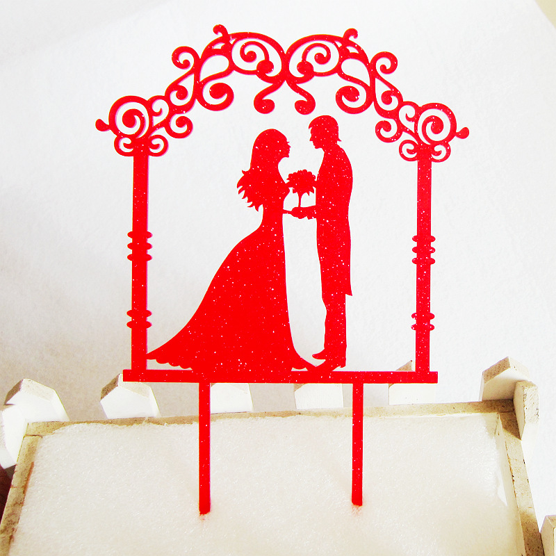 Venta individual Love Wedding Mr & Mrs Cake Flag Topper Gold Red Acrylic Cake Flags Para la Fiesta de Aniversario de Bodas Cake Baking Decor