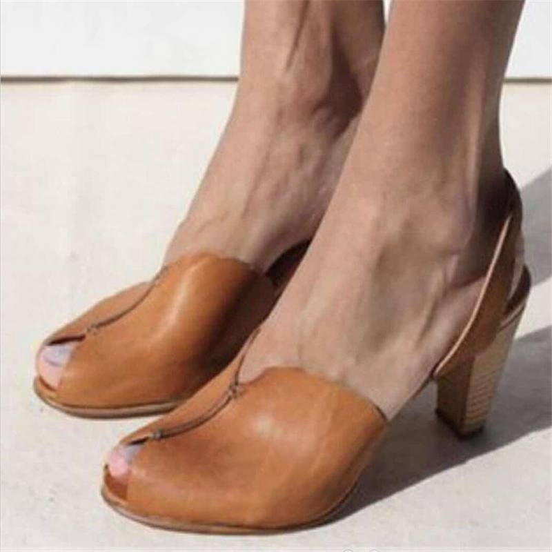 HEFLASHOR Pumps Sandal Strap Heel Party-Shoes Fashion Women's Shallow-Mouth Thick Outside