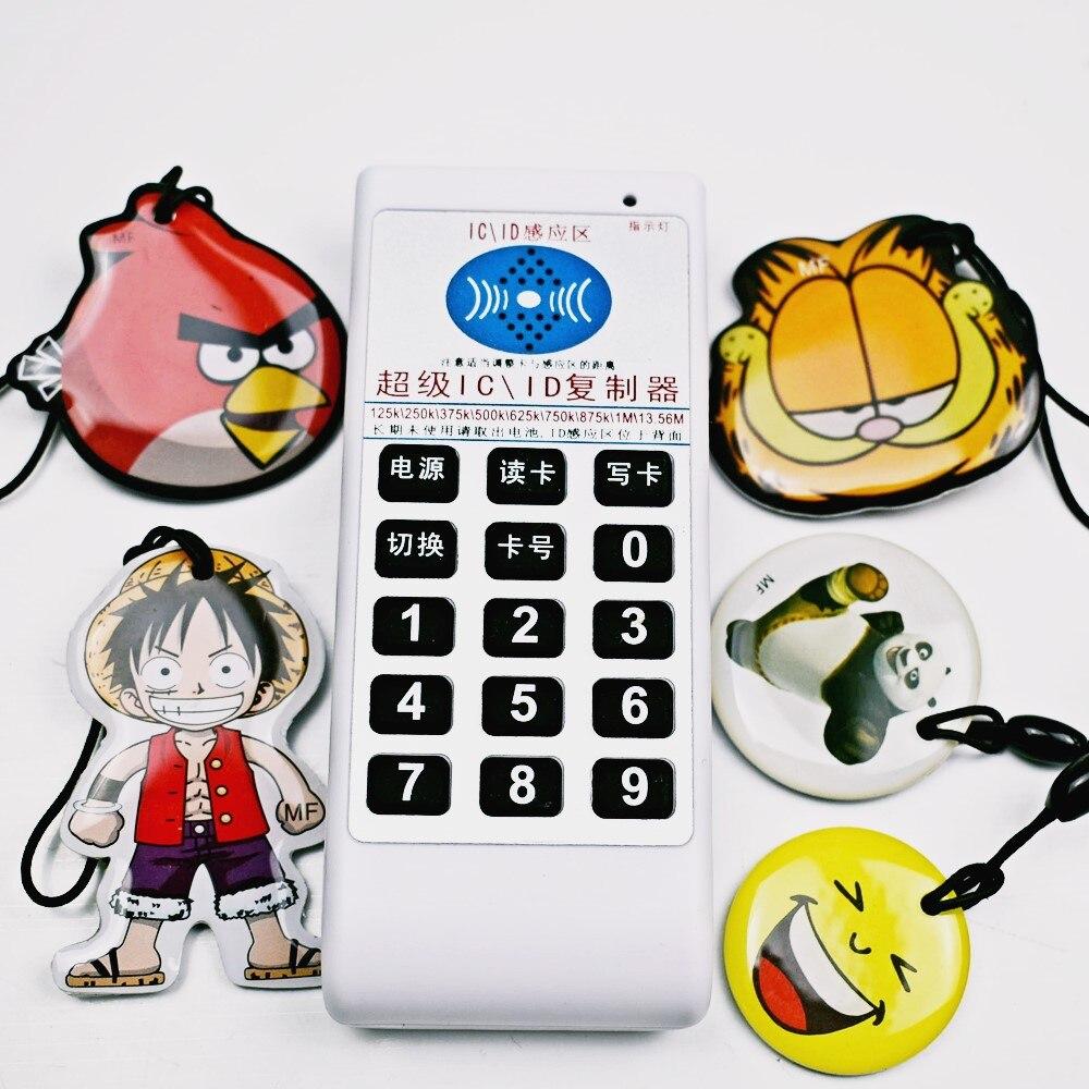 NFC RFID 9 Fréquence 13.56 Mhz 125 khz Copieur Duplicateur Cloner IC ID Lecteur Écrivain + 5 pcs 125 KHz EM4305 Inscriptible Époxy Keytag