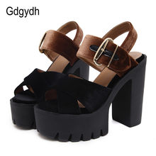 Gdgydh Summer Flock Women Sandals Platform Square Heels Female Shoes Fashion Buckle High Heeled Shoes Women Comfortable 2019 New(China)