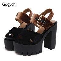 Gdgydh 2017 Summer Flock Women Sandals Open Toe Platform Square Heels Female Shoes Fashion Cut Outs