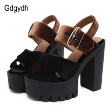 Gdgydh 2017 Summer Flock Women Sandals Open Toe Platform Kasut Square Kasut Wanita Fesyen Cut-out Kasut Summer Heels Tinggi