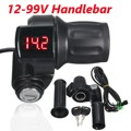 1 Set Black Speed Control Handlebar 12V-99V LED Digital With Key For Electric Motorcycle