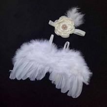 Hot Baby Kids Feather Lace Headband With Angel Wings Flowers Photo Props for Newborn Photography Props Baby Accessories Memorry