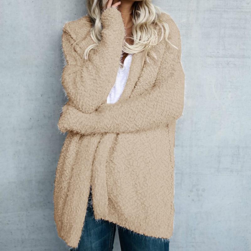 Online Shop Long Sleeve Knit Fuzzy Hooded Women Sweaters 2017 ...