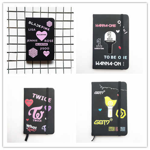 Blackpink مرتين Got7 Wanna One سبعة عشر دفتر Pu اللوازم المدرسية دفتر الكرتون جيب مذكرة منصات هدية Kpop جديد K-pop