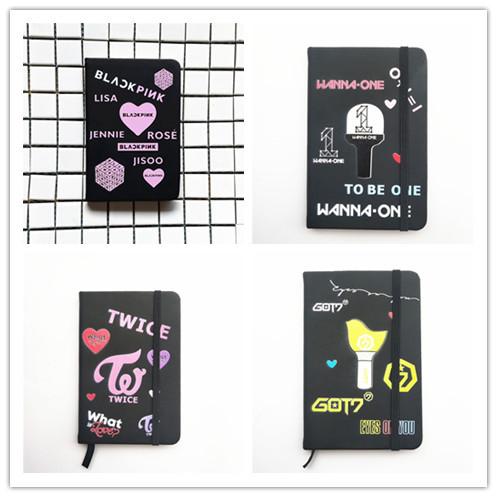 Blackpink dos veces Got7 quiero una diecisiete Notebook Pu escuela suministros cuaderno de dibujos animados bolso Nota de regalo Kpop nuevo K- pop